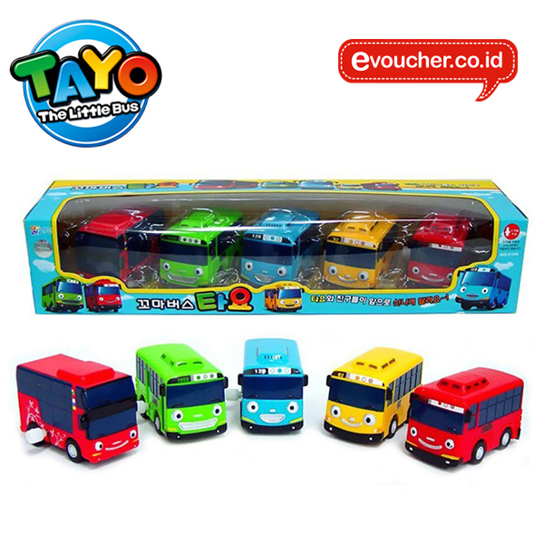 TAYO THE LITTLE BUS WIND UP CAR SET (5PCS) - ORIGINAL