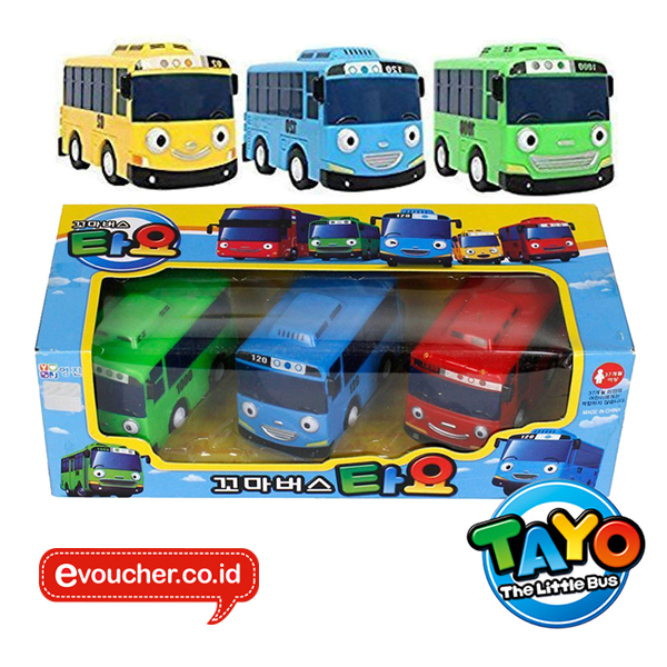 TAYO THE LITTLE BUS - WIND UP CAR SET 3PCS - ORIGINAL